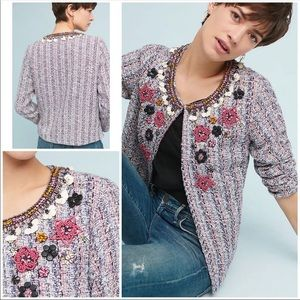 Anthropologie summer of love tweed beaded blazer